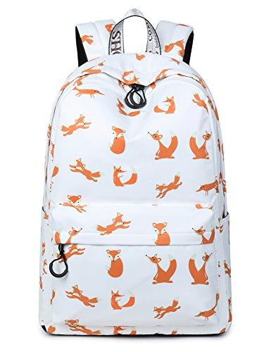 Cute Foxes Backpack Water Resistant Laptop Backpack Bookbags School Bags Travel Daypack by VOLINER Beige