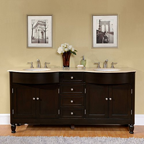 (Silkroad Exclusive HYP-0717-CM-UWC-72 Cream Marfil Marble Stone Top Double Sink Bathroom Vanity with Cabinet, 72