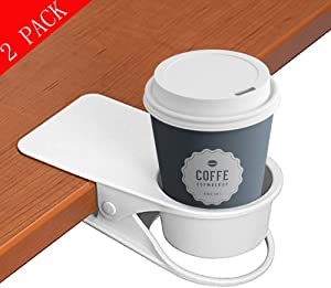 supercope Cup Holder Clip- Table Desk Side Bottle Cup Stand The DIY Glass Clamp Storage Saucer Clip Water Coffee Mug Holder Saucer Clip Design for Home & Office(black&white), (2 Pack)
