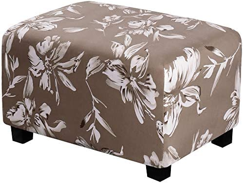H.VERSAILTEX Ottoman Slipcovers Rectangle Super Stretch Footrest Sofa Slipcovers Footstool Protector Covers Feature Soft Thick Bouncy Modern Style