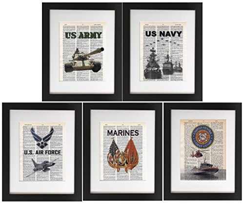 Military 5 Pack – Upcycled Dictionary Prints 8×10 Tribute to Army, Air Force, Navy, Marines  Coast Guard. Unframed Frame and matting are for presenta…