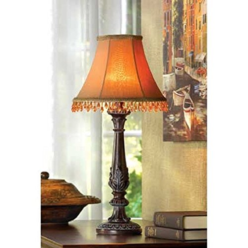 GHP Leaf Motif Accent Beaded Shade Table Lamp Home Decoration