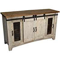 Crafters and Weavers Granville White 60 TV Stand / Sideboard / Console Table with Sliding Doors