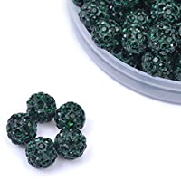 iCherry(TM) 10mm 100pcs/Lot Dark Green Clay Pave Disco Ball for Rhinestone Crystal Shamballa Beads Charms Jewelry Makings
