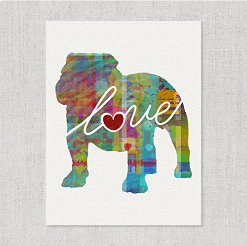 English Bulldog Love - Modern & Whimsical 8x10 Dog Breed Watercolor-Style Wall Art Print / Poster on Fine Art Paper (Unframed) (Art Bulldog Wall)