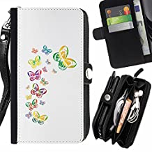 White Butterflies Colorful - Flip Credit Card Slots Pu Holster Leather Wallet Pouch Protective Skin Case Cover For Sony Xperia T3