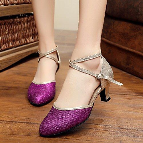chaussures de de danse Summer de danse des danse chaussures Dance femmes Violet de Square chaussures femmes chaussures latine danse de salon t886qUZr