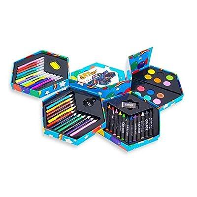 52pcs | Boîte de papeterie pour enfants | Avec feutres, crayons de couleur, peintures, taille-crayon, gomme etc. | Valeur exceptionelle ! by DELIAWINTERFEL