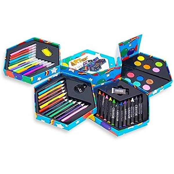 52 pz, Caja de papelería para niños, con marcadores, crayones, Pinturas, sacapuntas, Goma de borrar, etc, Valor excepcional! by DURSHANI: Amazon.es: Juguetes y juegos