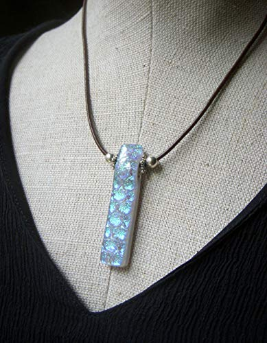 (Dichroic Necklace, Blue Glass Pendant, Sterling Silver, Brown Leather)