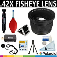 Polaroid Studio Series .42X HD Super Fisheye Lens + Cleaning & Accessory Kit For The Sony Alpha DSLR SLT-A33, A35, A37, A55, A57, A65, A77, A99, A100, A200, A230, A290, A300, A330, A350, A380, A390, A450, A500, A560, A550, A700, A850, A900 & Minolta Maxxum Digital SLR Camerass Which Have Any Of These (16-105mm, 18-200mm, 70-300mm, 24-105mm, 16-80mm, 18-250mm) Sony Lenses