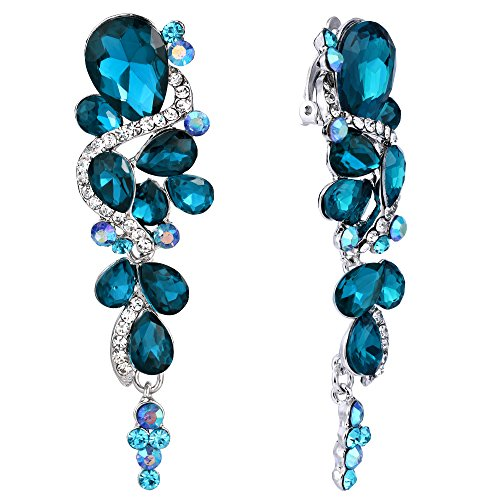 BriLove Wedding Bridal Clip On Earrings for Women Bohemian Boho Crystal Multiple Teardrop Chandelier Dangle Earrings Blue Topaz Color ()