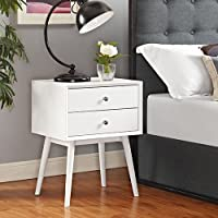 Modway Dispatch Mid Century Modern Nightstand In White - End Table For Bedroom Lamps - Bed Stand - Available In: Black - White - Natural - Walnut