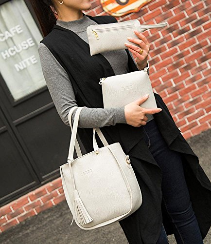 niceEshop(TM) 3 Pcs Conjunto Bolsos de Hombro de Cuero de Poliuretano Bolso para Mujeres,Gris Claro gris claro