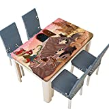 PINAFORE Spring & Summer Outdoor Tablecloth, Theme a Fox is Playing The Flute