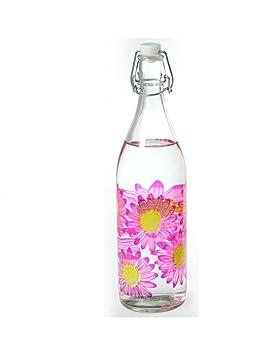 Home Line Botella de Cristal 1L. Flores 3 Colores - Rosa