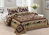 American Hometex Horse Country King Quilt Set, 105'' x 95'', Brown