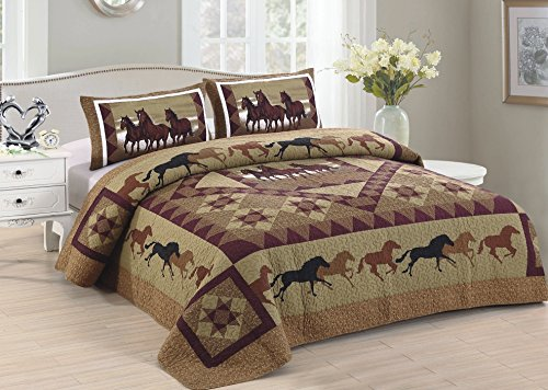 American Hometex Horse Country King Quilt Set, 105