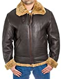 Mens Brown Aviator B3 Real Shearling Sheepskin Classic Pilot WW2 Flying Jacket With Ginger Sheepskin