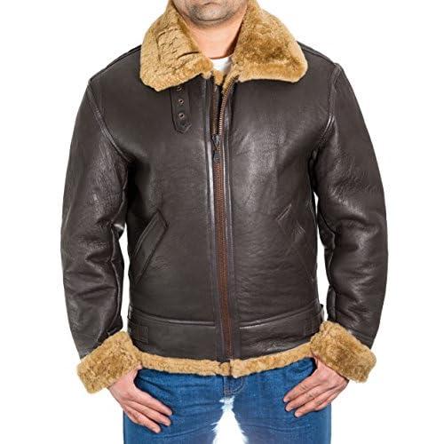 0dfa7134c67c7 new Para hombre de Brown aviador B3 piel de oveja chaqueta de piloto WW2  del vuelo