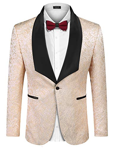 - COOFANDY Mens Floral Tuxedos Vintage Groomsmen Wedding Suit Jackets Prom Formal Tuxedo Blazer