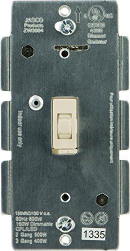 In-Wall Toggle Style CFL/LED Light Dimmer, Neutral Required, Almond,  45762/ZW3004, by Jasco, Cert ID: ZC08-13050016