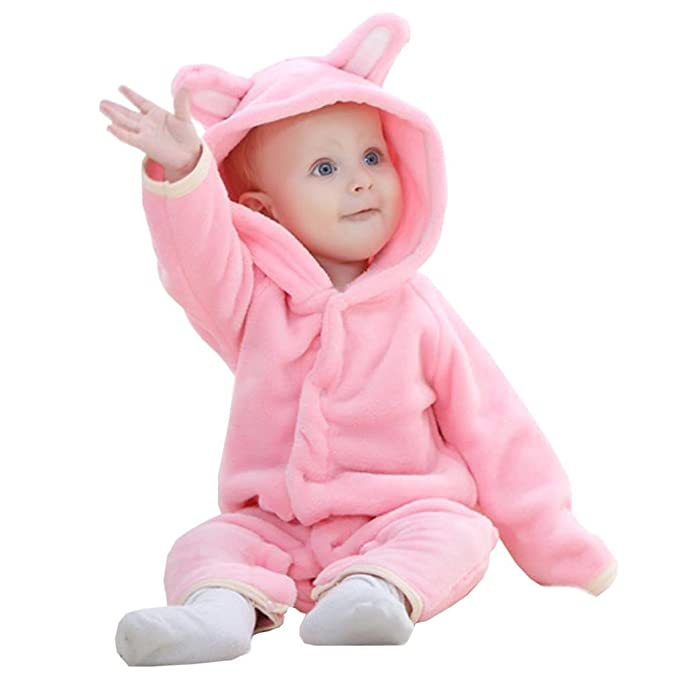 ef10f49e884 YUAN Cute Infant Toddler Baby Boys Girls Thicker Warm Hooded Romper  Jumpsuit Outfit Kid Autumn Winter