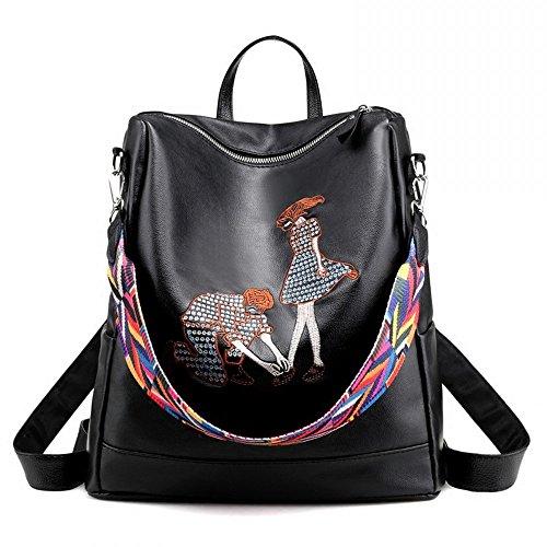 Unisex Classic Fashion Backpack Shoulder Bag For Men and Women Faux Leather(Front) Nylon(Back) Blue