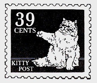 Kitty Post - Cat Rubber Stamp - 1D