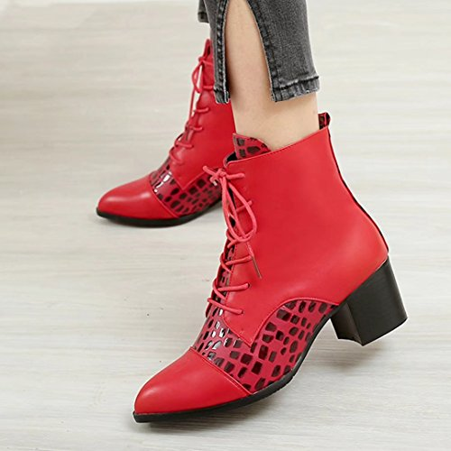AIYOUMEI Autumn Lace Winter up Red Heel Pointed Ankle Toe Block Short Boots Women's r0qA1wr