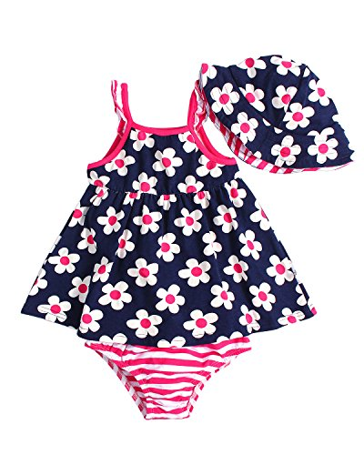 Kidsform Girls Three-Piece Sundress, Bloomer and Hat Set Flower Print Summer Outfits Holiday Beach Dress 1-5T Flowers 2-3 (Two Piece Bloomers)