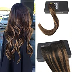 Sunny 20Inch Clip In Hair Extensions One Piece 5 clips Remy Human Hair Dark Brown Mixed Honey Blonde Colorful Highlight Clip in Human Hair Extensions Weight 70g