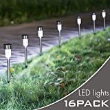 Hootech 16Pack Solar Lights Outdoor, Outdoor Garden Lights, Solar Pathway Lights, Outdoor Landscape Lighting for Lawn/Patio/Yard/Walkway/Driveway (Stainless Steel) (16 Pack)