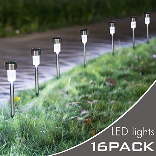Hootech 16Pack Solar Lights Outdoor, Outdoor Garden Lights, Solar Pathway Lights, Outdoor Landscape Lighting for Lawn/Patio/Yard/Walkway/Driveway (Stainless Steel) (16 Pack) by Hootech