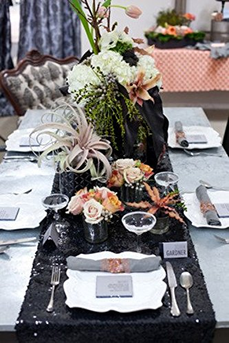 LQIAO Glitter 18PCS 14x108in-Sequin Table Runner-Sparkly Wedding Party Dining Kitchen Table Linens DIY, Black