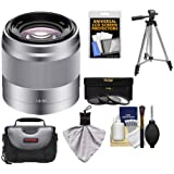 Sony Alpha NEX E-Mount 50mm f/1.8 OSS Lens (Silver) with 3 UV/FLD/PL Filters + Case + Tripod Kit for A7, A7R, A7S Mark II, A5100, A6000, A6300 Cameras