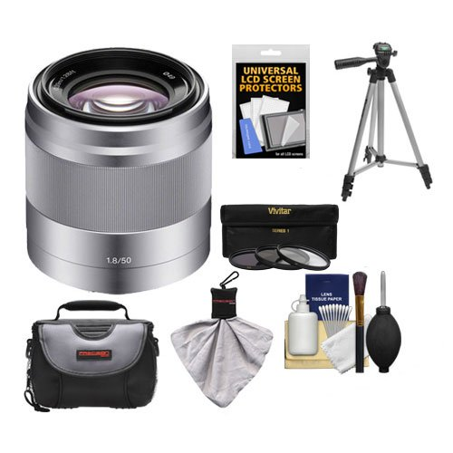 Sony Alpha NEX E-Mount 50mm f/1.8 OSS Lens (Silver) with 3 UV/FLD/PL Filters + Case + Tripod Kit for A7, A7R, A7S Mark II, A5100, A6000, A6300 Cameras (50mm Pl Lens)