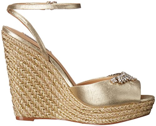 Badgley Mischka Womens Annabel Espadrille Wedge Sandal Platino