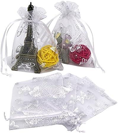 20 x 30 cm maquillage cadeaux mariage bonbons 10 couleurs bijoux Couleurs m/élang/ées Pour No/ël Phoetya Lot de 100 grands sacs en organza avec cordon de serrage