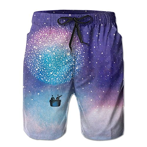Galaxy Hot Air Balloon Couple Mens Adult Casual Fashion Beach Shorts by YHXT