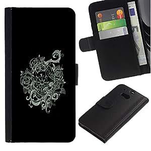 RenCase / Flip Funda Carcasa PU de Cuero para HTC One M8 - Humo Negro floral Niebla Mística Blanca;