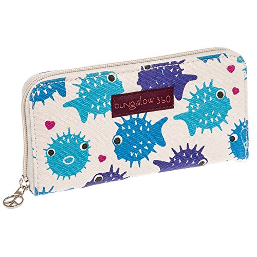 Bungalow360 Womens Canvas Large Zip-Around Wallet, Puffer Fish