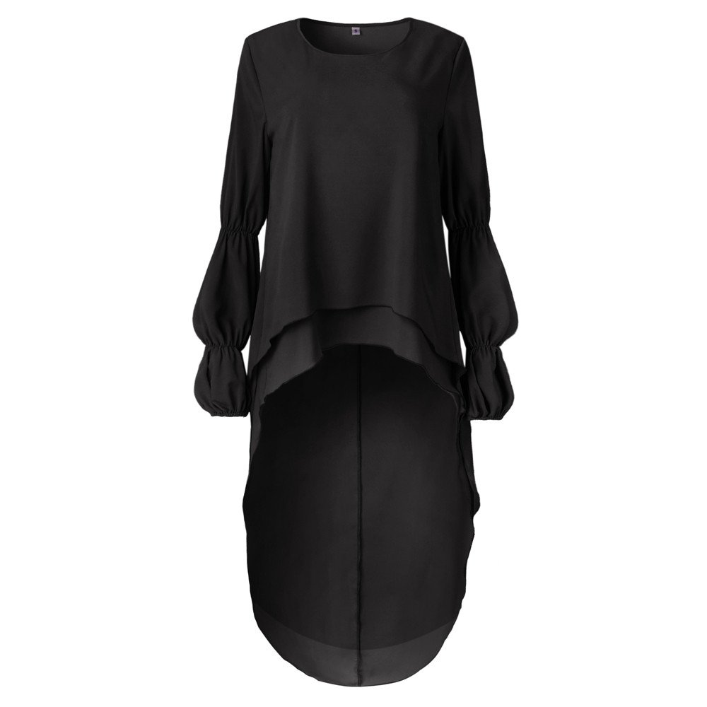 ANJUNIE Women Irregular Ruffles Shirt Long Sleeve Sweatshirt Pullovers Casual Tops