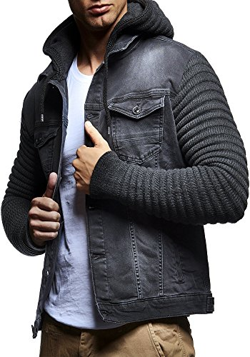 Leif Nelson LN5240 Men's Casual Denim Jacket with Knitted Sleeves; Size M, Anthracite (Designer Leather Jackets Mens)