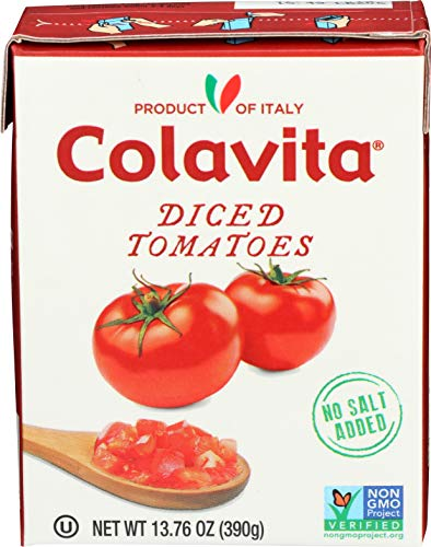Colavita Italian Diced Tomatoes, Tetra Recart Box, 13.76 Ounce (Pack of 16) (Organic Canned Tomatoes)
