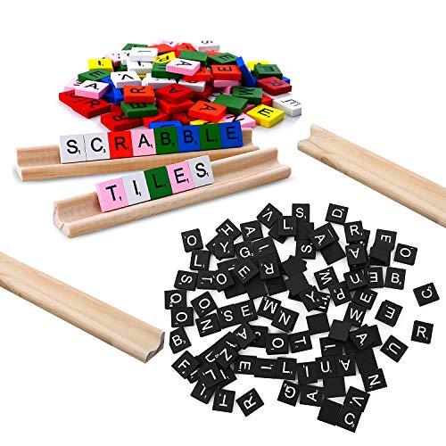 200 Scrabble Tiles, 2 Complete Sets& 4 Letter Racks Wood Letter Scrabble Tile - Great for Crafts, Pendants, Spelling ()
