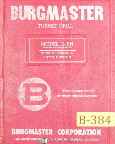 Burgmaster 2-BH, Automatic Hydraulic Turret Drilling Machine Center, Service ()