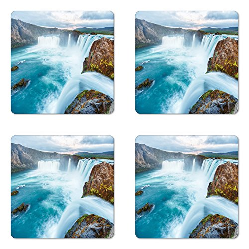Lunarable Waterfall Coaster Set of Four, Icelandic Nature Dramatic Landscapes Picture with Sunset View, Square Hardboard Gloss Coasters for Drinks, Pale Blue White Pale Brown