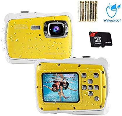 Veeca Waterproof Kids Digital Camera 12MP HD Photo Resolution Underwater Camcorder with 8X Digital Zoom Flash Mic and 8G SD Card 3 Non-Rechargeable Batteries Included