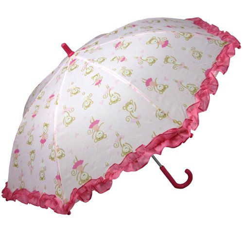 RainStoppers Girl's Monkey Print Umbrella, Pink, (Umbrella Hats For Sale)